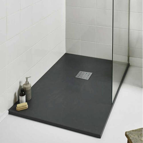 Additional image for Rectangular Shower Tray & Chrome Waste 1600x800 (Graphite).