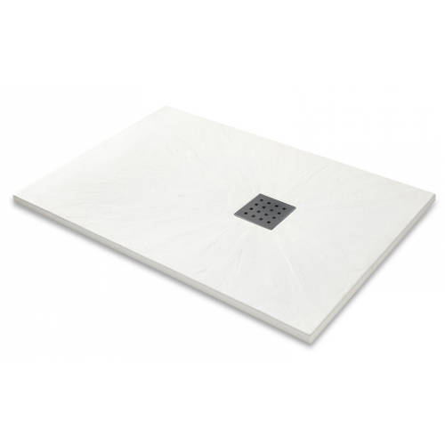 Additional image for Rectangular Shower Tray & Graphite Waste 1700x800 (White).