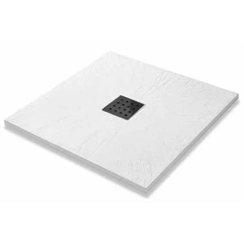 Additional image for Square Shower Tray & Graphite Waste 900x900 (White).
