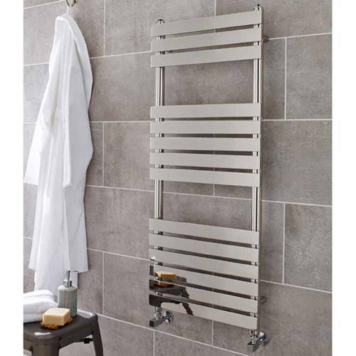 Additional image for Memphis Heated Towel Rail 500W x 1200H mm (Chrome).