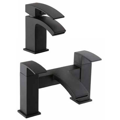 Additional image for Basin Mixer & Bath Filler Tap Pack (Matt Black).