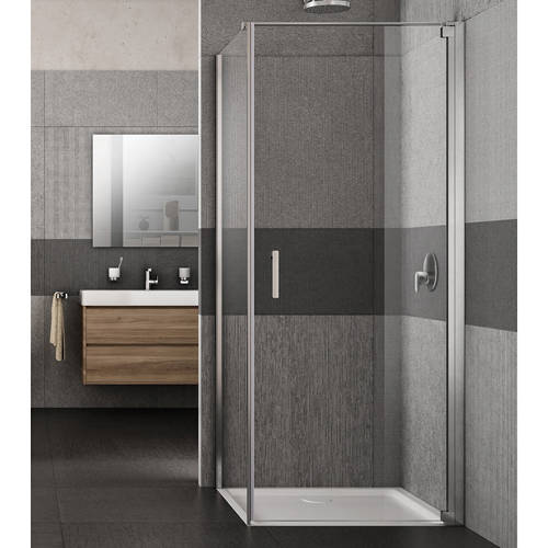 Additional image for Vivo Shower Enclosure With Pivot Door (800x800x2000mm, RH).