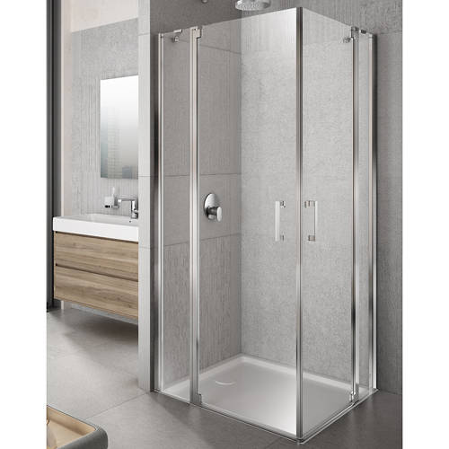 Additional image for Tempo Shower Enclosure With In-Line Panels (900x900mm).