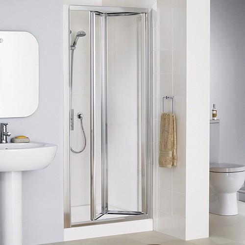 700mm framed bi fold shower door silver lakes classic for Bifold bathroom door designs
