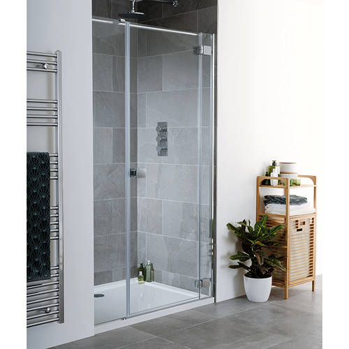 Additional image for Cayman Frameless Hinged Shower Door & Panel (1400x2000).