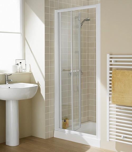 Additional image for 700mm Semi-Frameless Bi-Fold Shower Door (White).