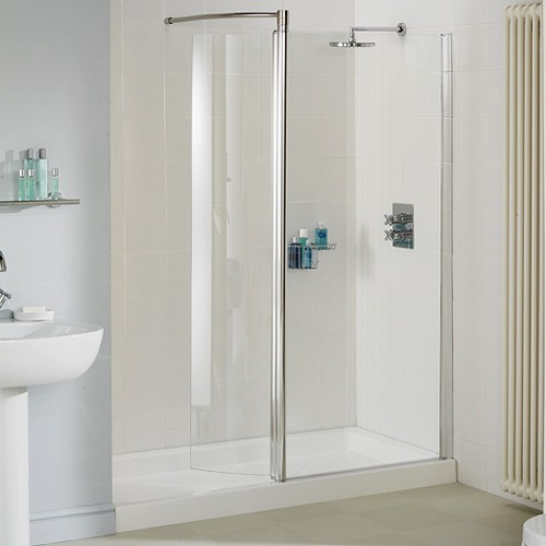 1400mm Glass Shower Screen With Swivel Glass Panel Silver Lakes Classic La Lws140005