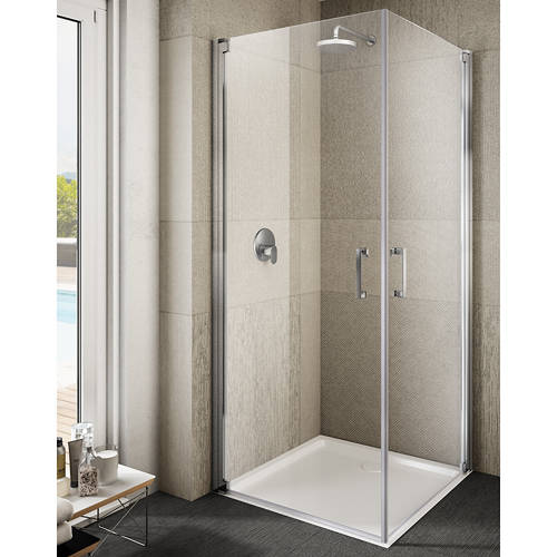 Additional image for Ritiro Semi-Frameless Square Shower Enclosure (1000x1000mm).