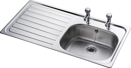 Additional image for Lexin 1.0 bowl stainless steel kitchen sink with left hand drainer. Waste kit supplied.