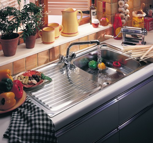 Additional image for Linear 1.0 bowl stainless steel kitchen sink. Reversible. Waste kit supplied