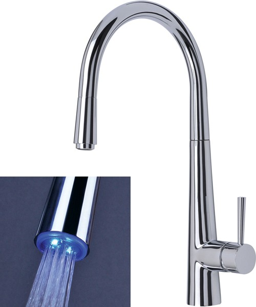 Additional image for Palazzo Glo Kitchen Tap, Pull Out LED Rinser (Chrome).