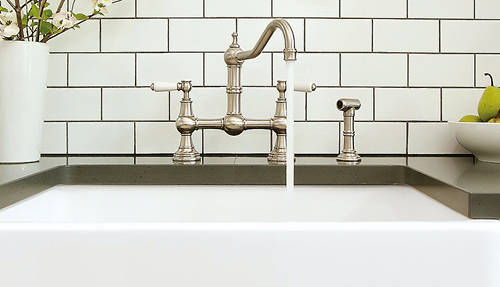 Additional image for Kitchen Tap With Rinser & Lever Handles (Pewter).