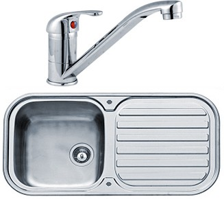Kitchen Sink, Tap & Waste. 960x480mm (Reversible, Deep Bowl ...