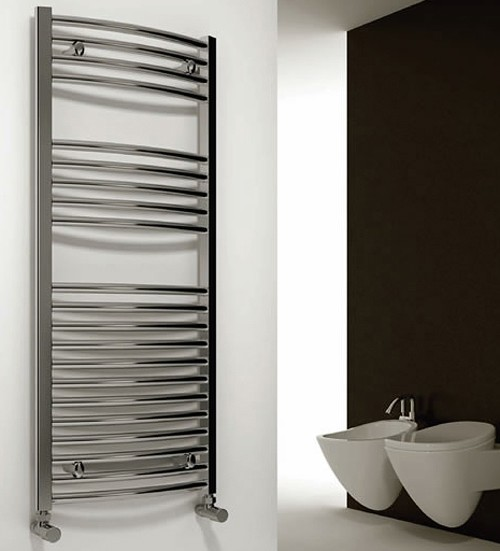 Additional image for Diva Curved Towel Radiator (Chrome). 1200x750mm.