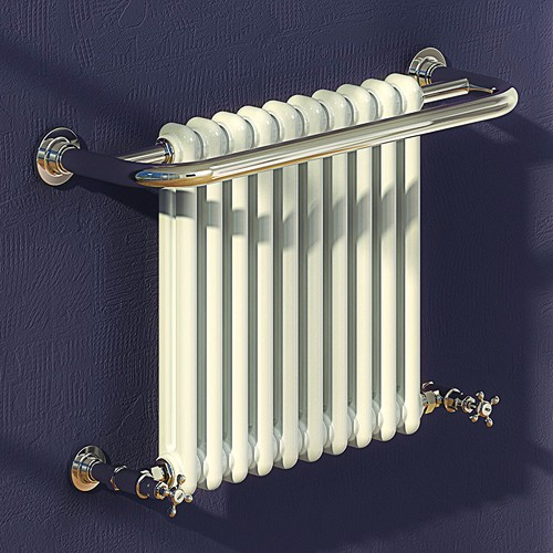 Additional image for Camden Traditional Towel Radiator (Chrome). 743x493mm.