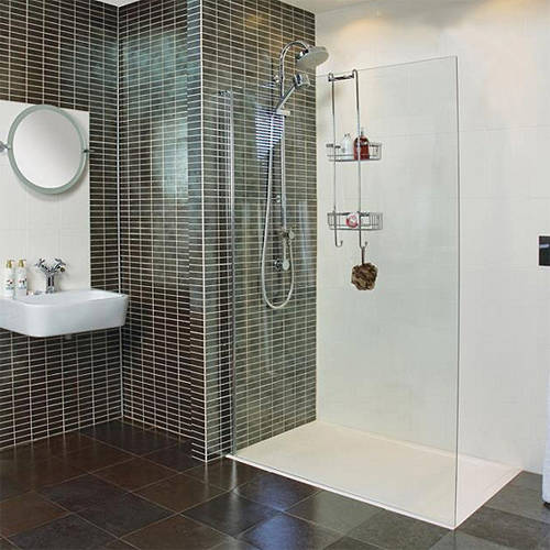 Additional image for Wet Room Glass Screen With Wall Bracket (700mm).