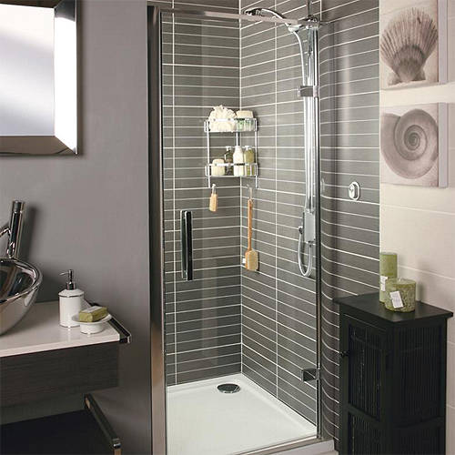 Additional image for Hinged Shower Door (760mm, Silver Frame).