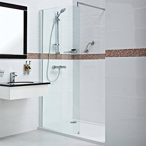 Additional image for Curved Wetroom Shower Screen (800x2000mm, 8mm).