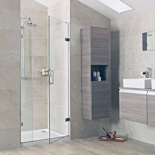 Hinged shower door with one in line panel 1400 nickel for 1400 shower door