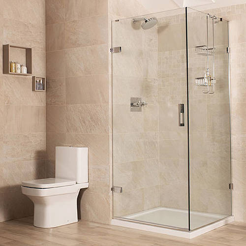 Additional image for Frameless Shower Enclosure With Hinged Door (800x900mm).