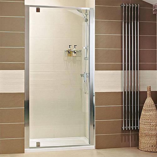 Additional image for Pivot Shower Door (760mm, Silver Frame).