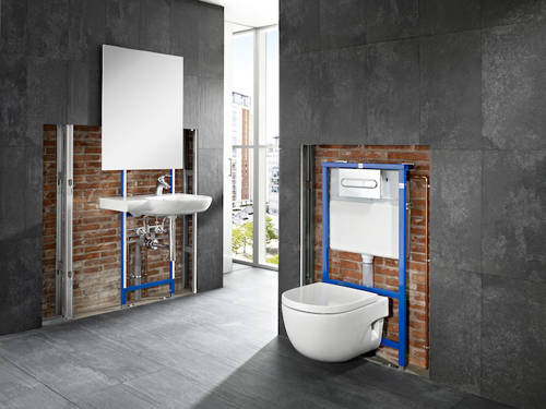 Additional image for Basin & WC Frame With PL6 Dual Flush Panel (Grey).