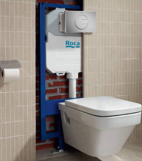 Additional image for DUPLO WC Wall Hung Frame & PL4 Dual Flush Panel (Grey).