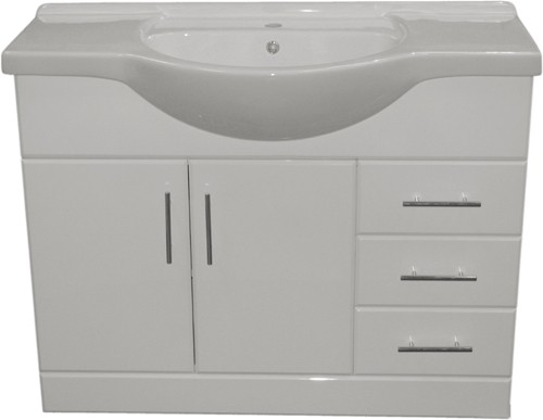 Additional image for 1050mm White Vanity Unit, Ceramic Basin, Fully Assembled.