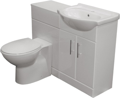 Additional image for Complete Vanity Suite In White, Right Handed. 1025x830x300mm.