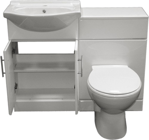 Additional image for Complete Vanity Suite In White, Left Handed. 1125x830x300mm.