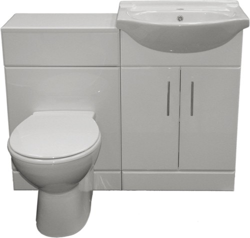 Additional image for Complete Vanity Suite In White, Right Handed. 1125x830x300mm.
