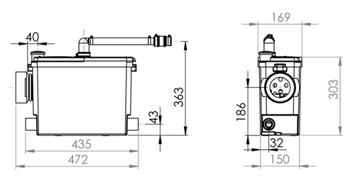 Additional image for Sanipack macerator for back to wall or wall hung WC.