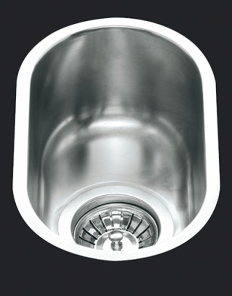 Additional image for 1.0 Bowl Oval Stainless Steel Undermount Kitchen Sink. 160mm.