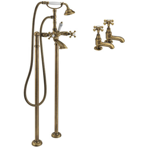 Additional image for Basin & Floor Standing Bath Shower Mixer Tap (Bronze).