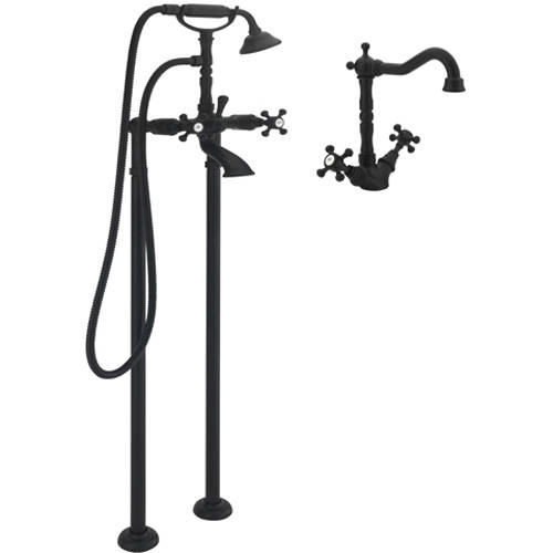 Additional image for Basin Mixer & Floor Standing Bath Shower Mixer Tap (M Black).