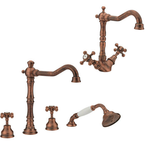 Additional image for Basin & 4 Hole Bath Shower Mixer Tap Pack (Copper).