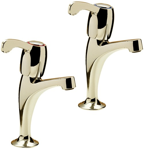 Additional image for Capri High Neck Kitchen Taps With Lever Heads (Gold).