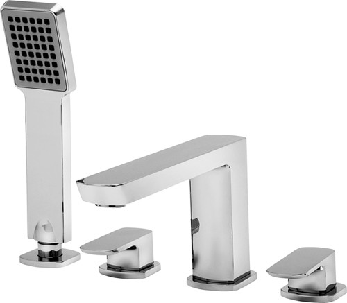 Additional image for 4 Tap Hole Bath Shower Mixer Tap With Shower Kit (Chrome).