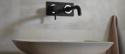 Additional image for Wall Mounted Basin Mixer Tap (205mm Spout, Matt Black).