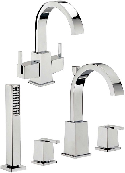 Additional image for Basin Tap & 4 Hole Bath Shower Mixer Tap Set.