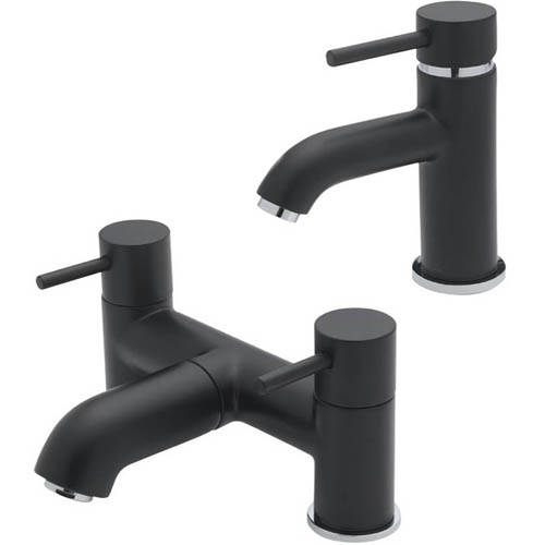 Additional image for Mono Basin & Pillar Bath Filler Tap Pack (Matt Black).
