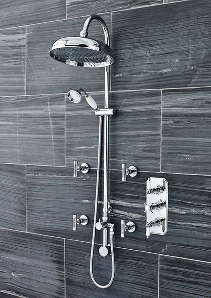 Additional image for Traditional Triple Thermostatic Shower Valve, Riser & Body Jets.
