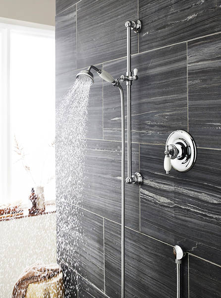 Additional image for Sequential Thermostatic Shower Valve & Slide Rail Kit (Chrome).