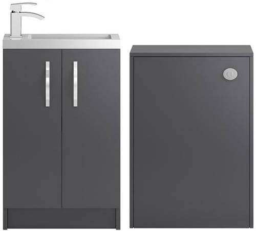 Additional image for Vanity Unit 500mm, Basin & WC Unit 600mm (Grey).