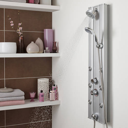 Additional image for Ripple Thermostatic Push Button Shower Panel (Aluminium).