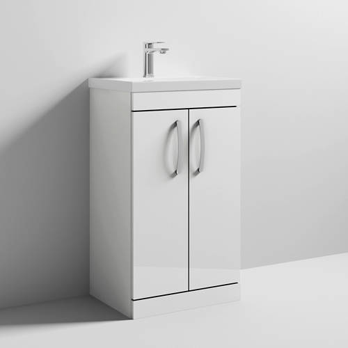Additional image for Vanity Unit With 2 x Doors & Basin 500mm (Gloss White).