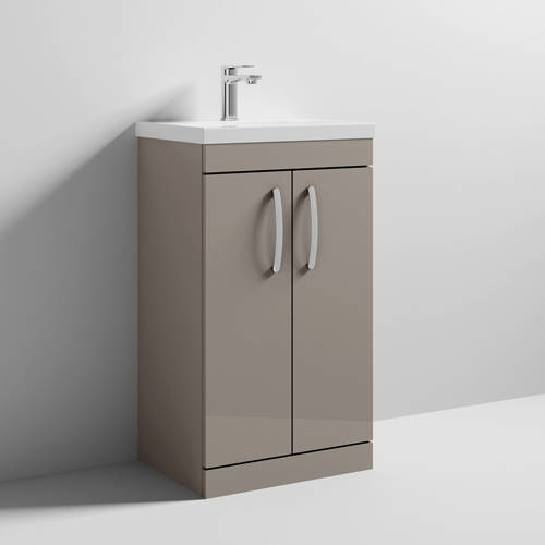 Additional image for Vanity Unit With 2 x Doors & Basin 500mm (Stone Grey).