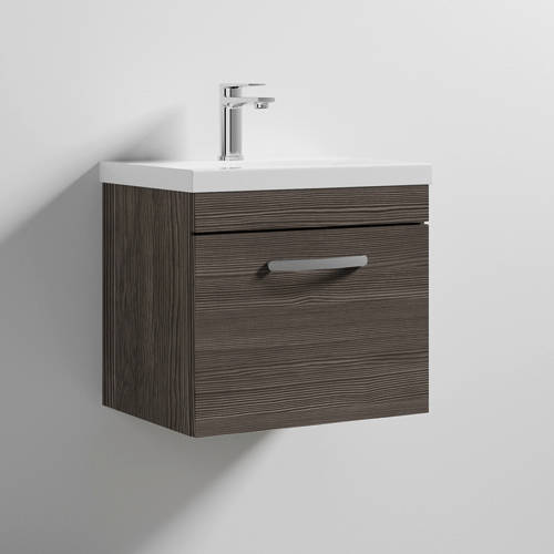 Additional image for Wall Vanity Unit With 1 x Drawer & Basin 500mm (Grey Avola).