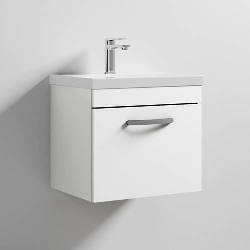 Additional image for Wall Vanity Unit With 1 x Drawer & Basin 500mm (Gloss White).