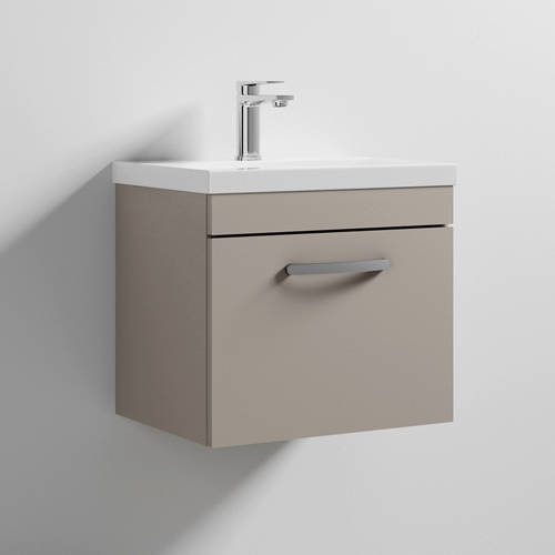 Additional image for Wall Vanity Unit With 1 x Drawer & Basin 500mm (Stone Grey).
